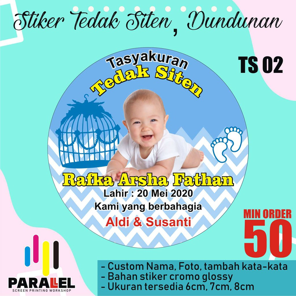 Stiker Tedak Siten Stiker Dundunan Stiker Cup Bubur Stiker Mitoni 7 Bulanan Bulat Shopee Indonesia