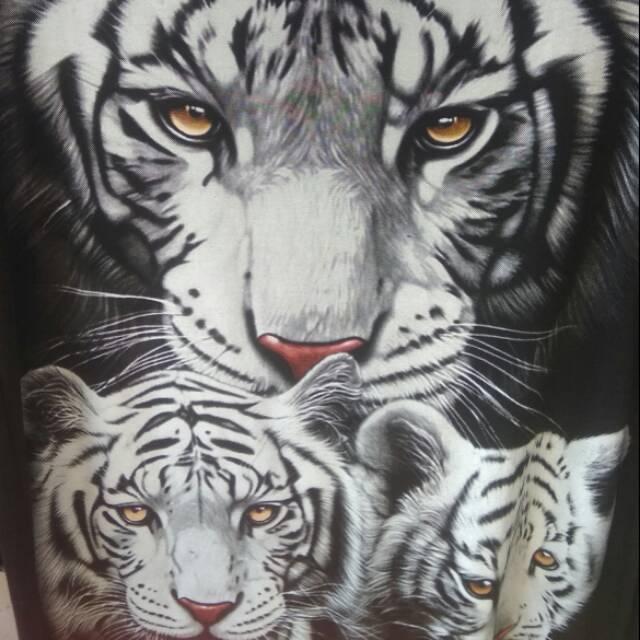 Baju Kaos Spandek Gambar Macan Putih Kembar 3 Shopee Indonesia