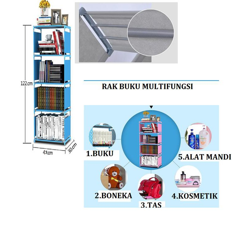 Rak Buku Portable / Lemari Serbaguna 2 Sisi (Pink Polkadot) MERK SHENAR   Shopee Indonesia