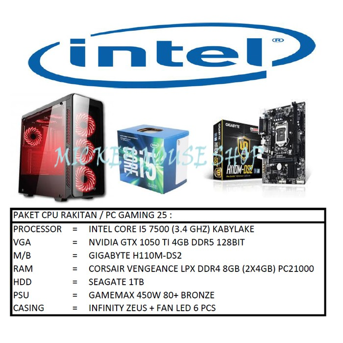 PC PAKET CPU / PC RAKITAN GAMING 25/ INTEL CORE I5 7500 KABYLAKE GTX 1050