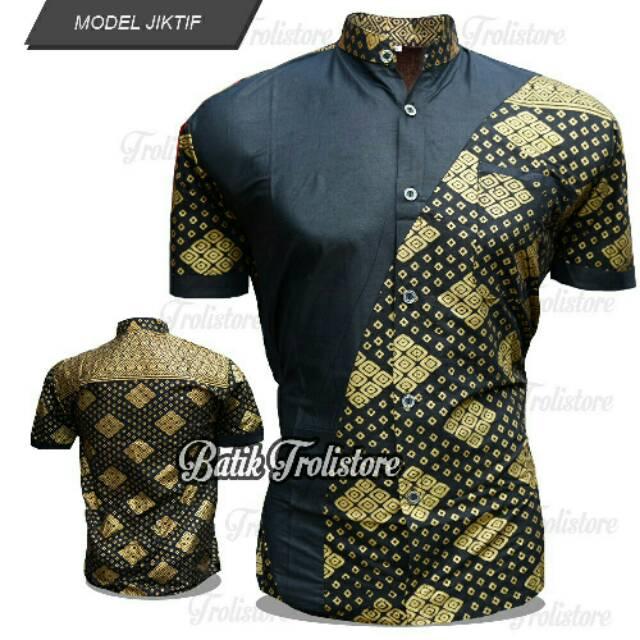 Baju Batik Pria Eksklusif Kemeja Lengan Pendek Modern Motif Pelekwarna  Kombinasi Kuning Emas Dan Hitam Belakang 39a8323435