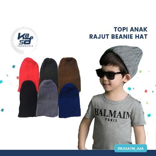 Topi Anak Rajut Beanie Hat Cap Polos  1b4a9ddd79