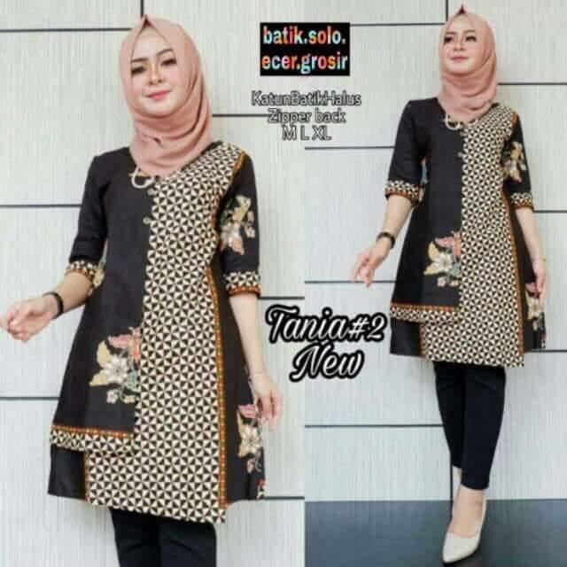Dress Batik Tania 2 New Model Baju Kantoran Wanita Modern Formal Katun Halus Premium Casual Shopee Indonesia