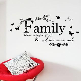 Stiker Dinding Desain Tulisan + Bunga untuk Dekorasi Ruang ...