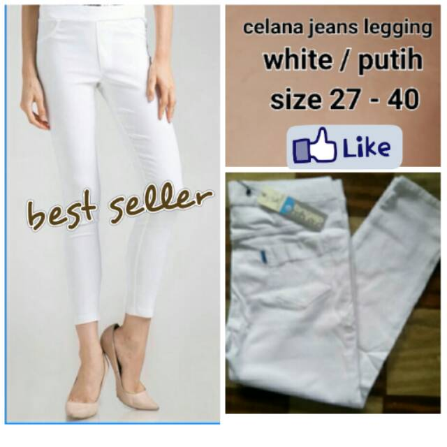 Celana Jeans Wanita Legging Jumbo White Putih Shopee Indonesia