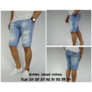 Celana jeans pendek pria/celana sobek ripped jeans murah