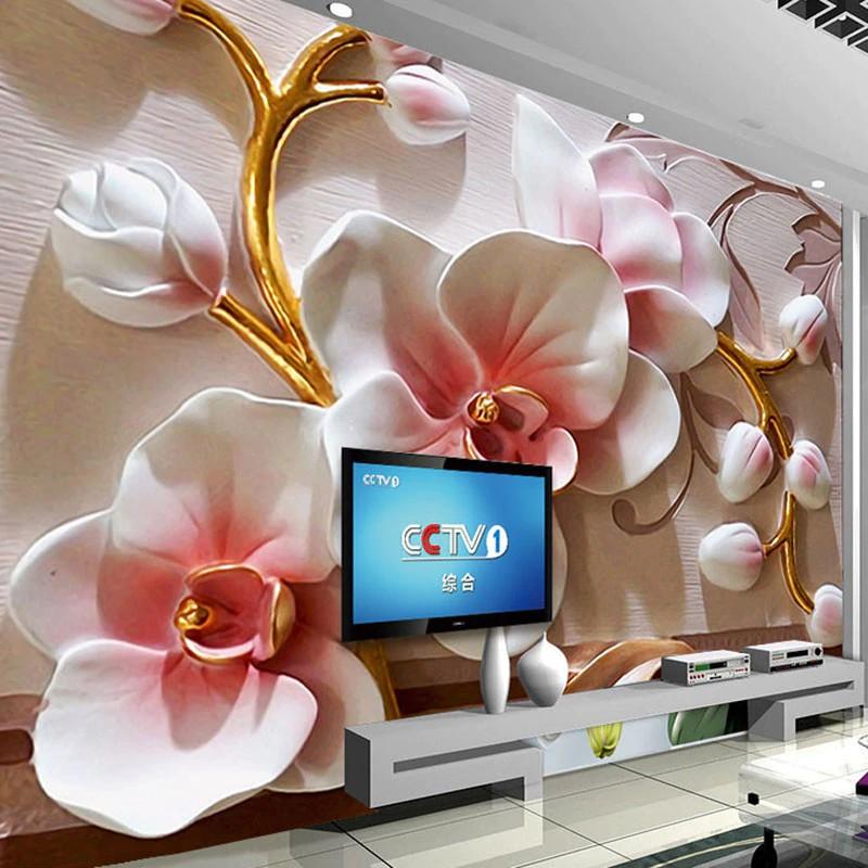 Free Ongkir Terlaris Kustom Ukuran Lukisan Dinding Wallpaper 3d Timbul Bunga Anggrek Foto Kertas Shopee Indonesia