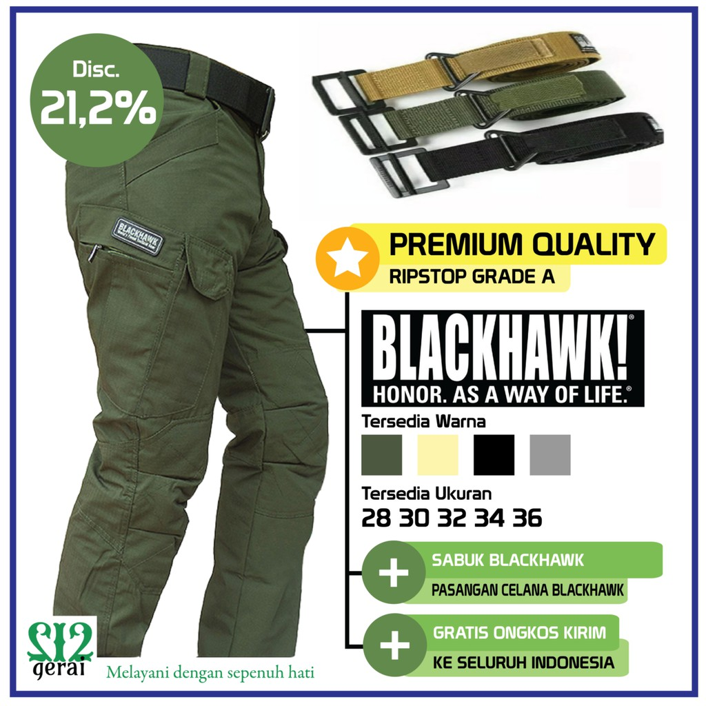 Premium Quality Celana Tactical Blackhawk Size Besar Plus Ikat Camo Series Full Katun Pinggang Shopee Indonesia