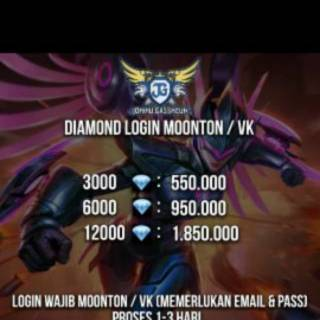 Promo Diamond Mobile Legends Login MOONTON only 6000 u0026 3000 💎