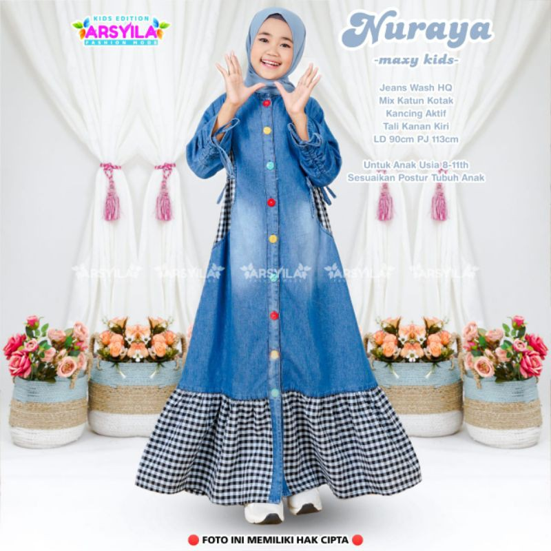 Nuraya Maxy Kids Dress Anak Usia 8 9 10 11 tahun Busana Muslim anak Jeans wash Halus by Arsyila