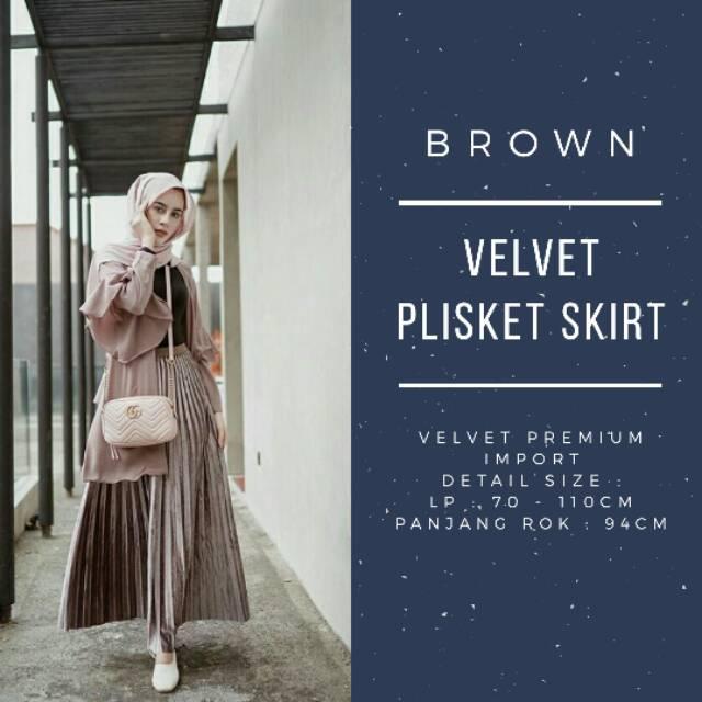3cc6358821 Velvet Skirt / Rok Plisket Bludru | Shopee Indonesia