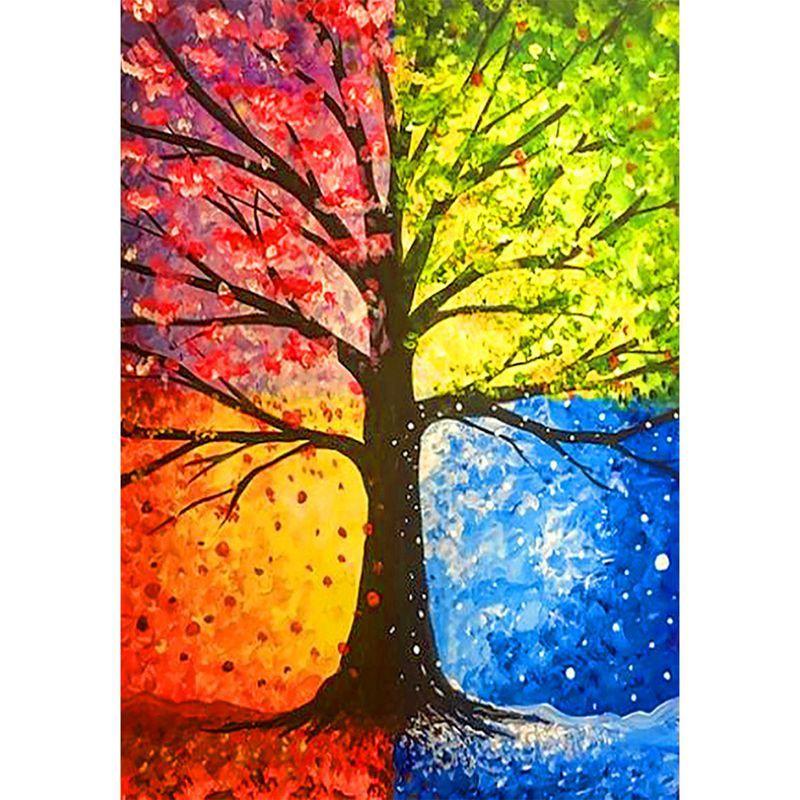 Lukisan Diamond 5d Gambar Pohon 4 Musim Untuk Dekorasi Rumah