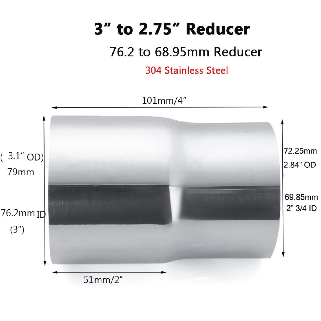 "3/"" ID to 3/"" OD exhaust reducer adapter coupler pipe 304 stainless steel"