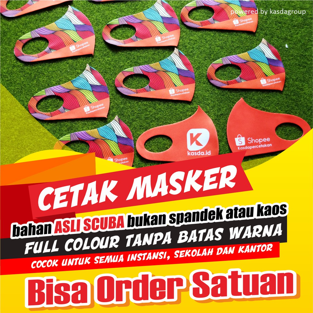 CETAK MASKER DESAIN CUSTOM BAHAN SCUBA ASLI | Shopee Indonesia