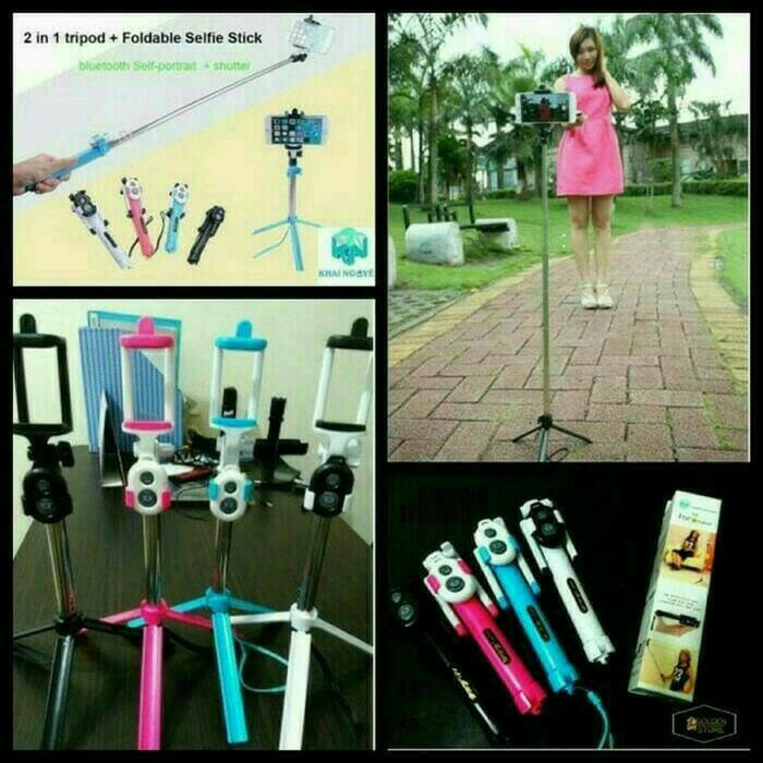 Tongkat Narsis/Tongsis Selfie Extendable 85cm dengan Kaki Tripod+Remote Shutter Bluetooth | Shopee Indonesia