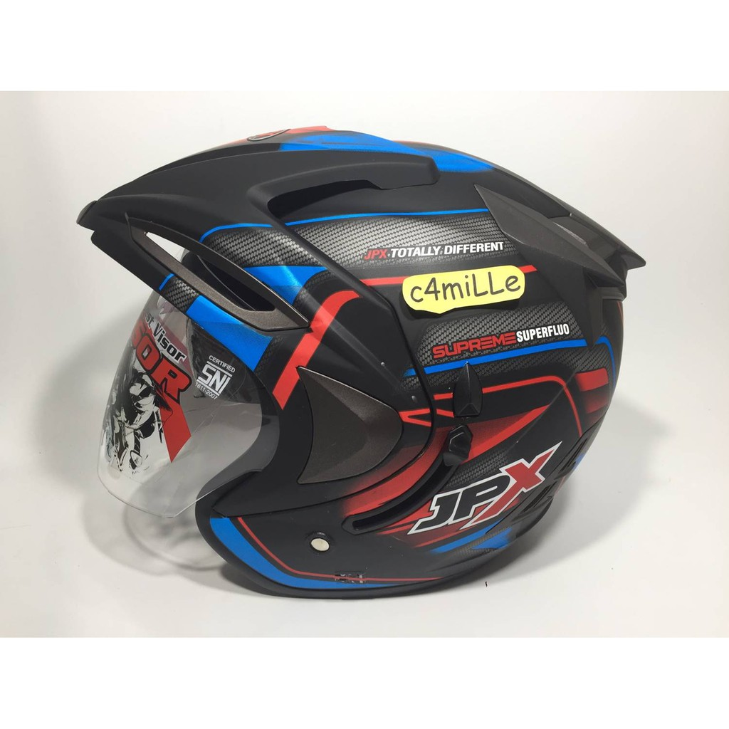 HELM JPX SUPREME ESPARGARO 41 BLACK DOFF DOUBLE VISOR HALF FACE | Shopee Indonesia