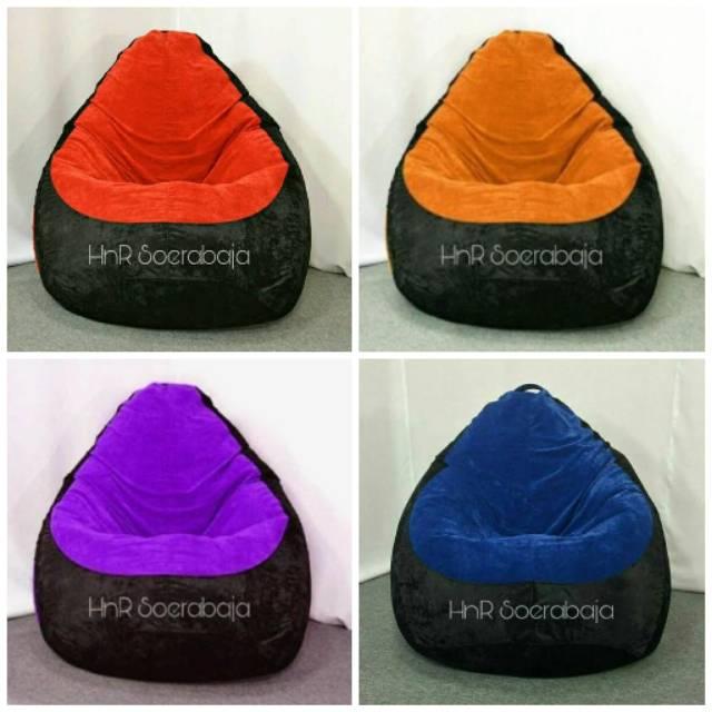 Groovy Kursi Santai Bean Bag Pear Mix Suedee Premium Machost Co Dining Chair Design Ideas Machostcouk
