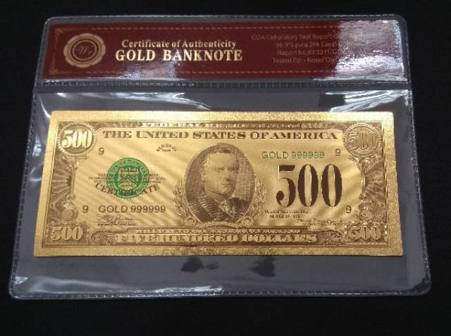 Uang Replika Lapis Emas Pecahan 500 Dollar Bersertifikat Koleksi Langka Dan Bergengsi Barang Langka Shopee Indonesia
