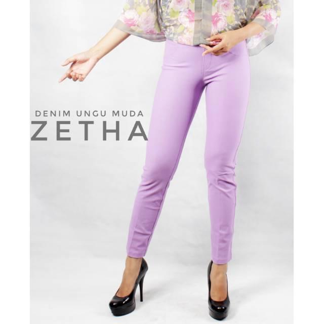 Celana Legging Zetha Warna Denim Ungu Muda Untuk Wanita Harga Terjangkau Shopee Indonesia