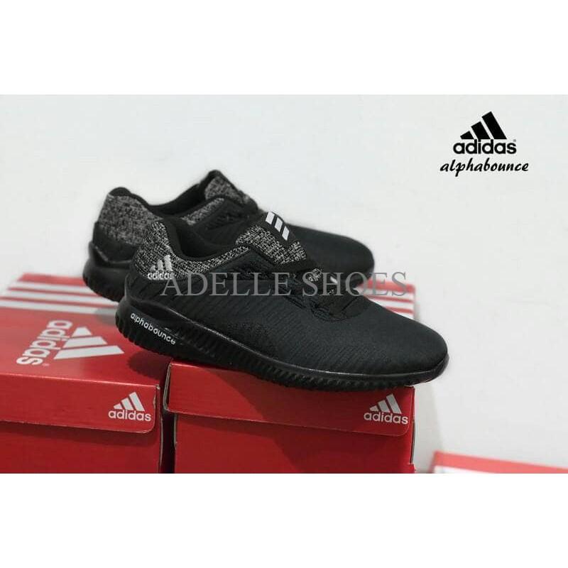 Sepatu Pria Wanita Sepatu Adidas Alphabounce Full Black Hitam   sport  casual sekolah  aa9b30bf9e