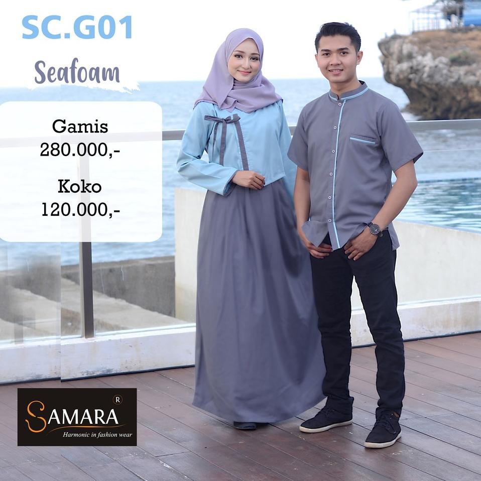 Model Baru.. Baju Gamis Couple Pasangan Lebaran 9 Sarimbit Seragam  Keluarga Family Muslim Modern