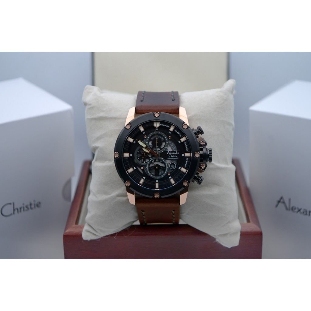 Alexandre Christie Ac 6416 Rose Gold Black Leather Brown For Men Original Ac6141 Mcbtbsl