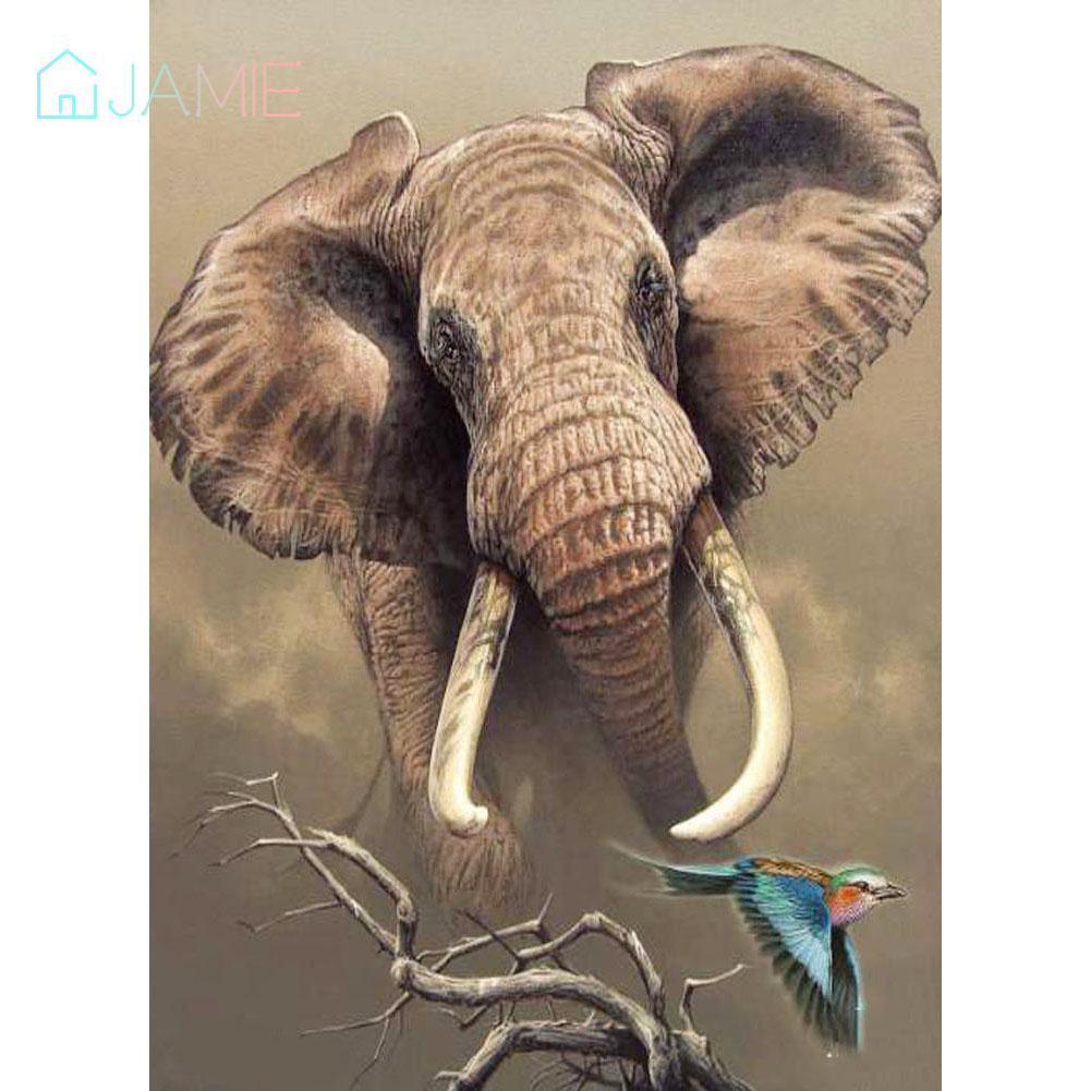 Diy Bor Penuh Berlian Lukisan Gajah Cross Stitch Bordir Mosaik