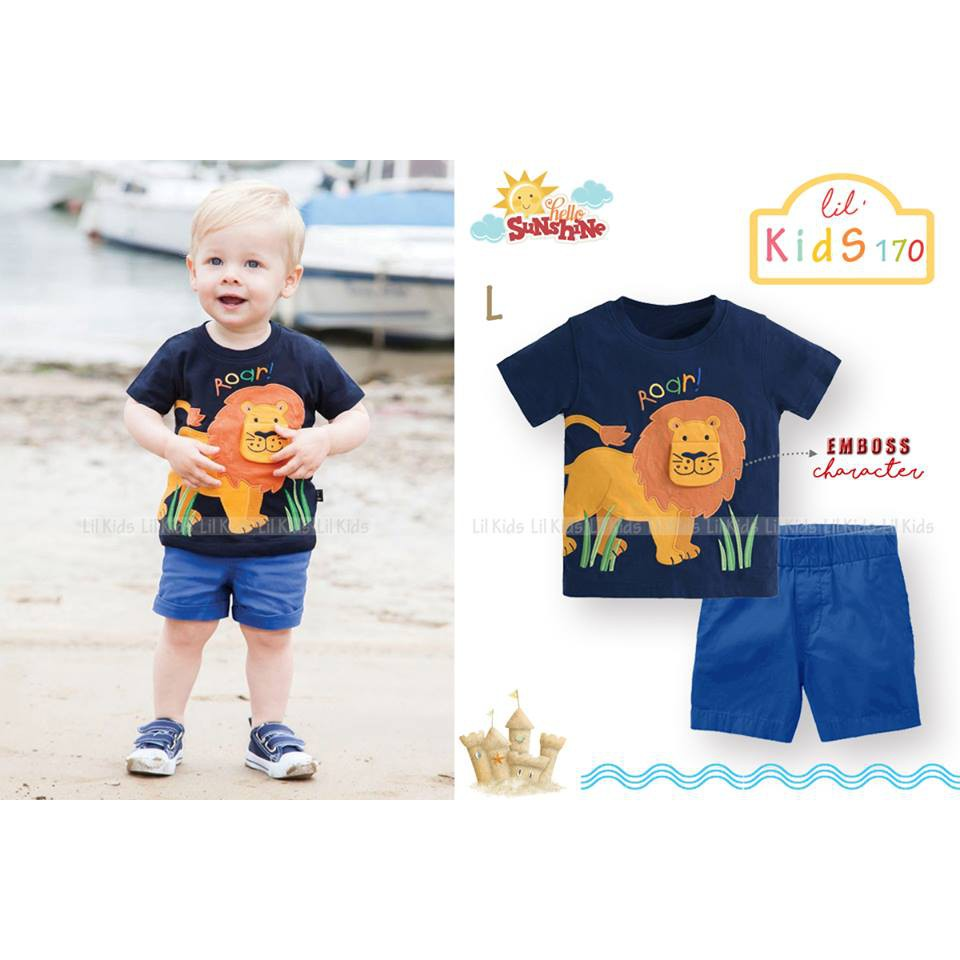 Setelan Anak Lil Kids Lion Shopee Indonesia Macbear Baju Polo Little Dino Park Variasi Dasi Size 3 Biru