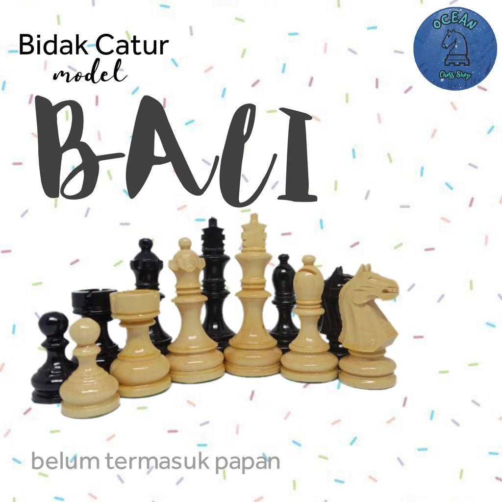Bidak Catur Kayu Mentaos model Bali Premium ( Standar Internasional )