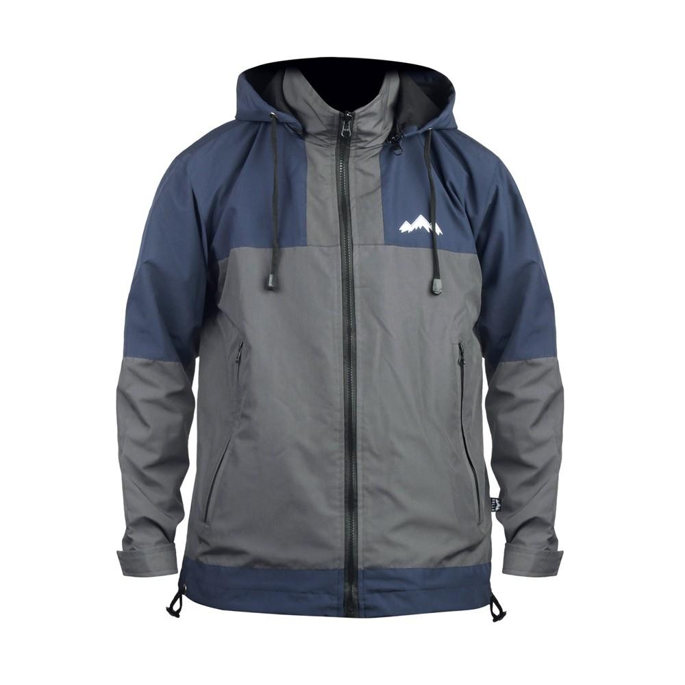 Jaket Taslan Outdoor Waterproof, Pria Wanita, Jacket Windbreaker Zipper Two Navy Grey
