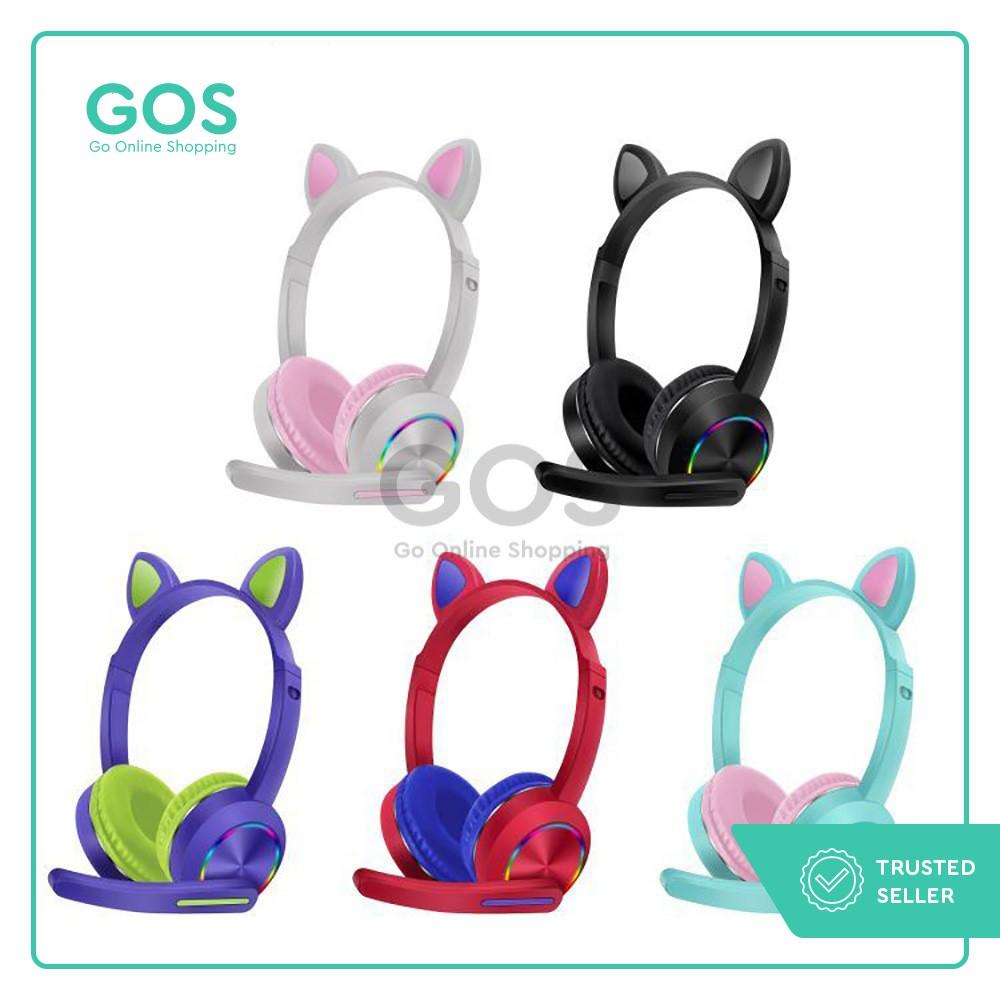 Headphone Bluetooth Gaming Mic Lampu LED Kucing Henset Hetset Handsfree Headset Gamers