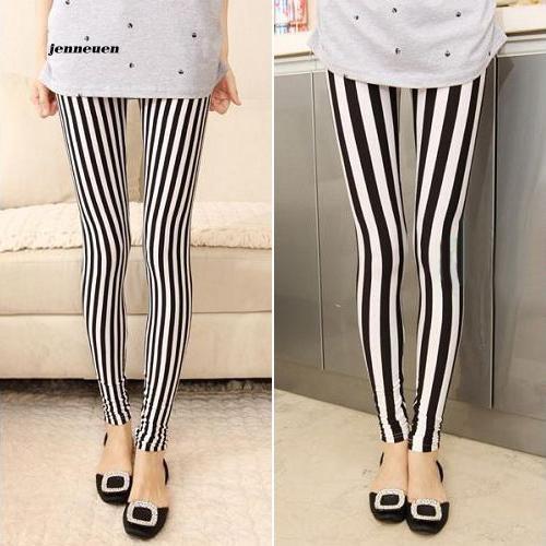 Jona Celana Legging Panjang Wanita Model Slim Fit Motif Garis Vertikal Warna Hitam Putih Shopee Indonesia