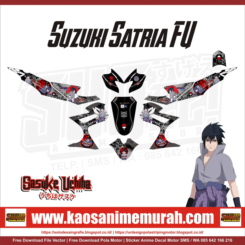 Sticker anime decal motor suzuki satria fu sasuke uchiha shopee indonesia