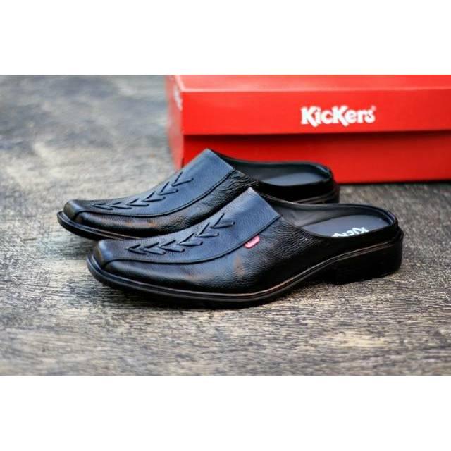 Sendal sepatu Kickers Pria Sandal Kulit Asli Murah Cowok Semi Pantofel  Bustong Slop Slip On Casual 053e9375d8