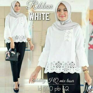 Gbb13 Ribbon White Baju Putih Blouse Putih Atasan