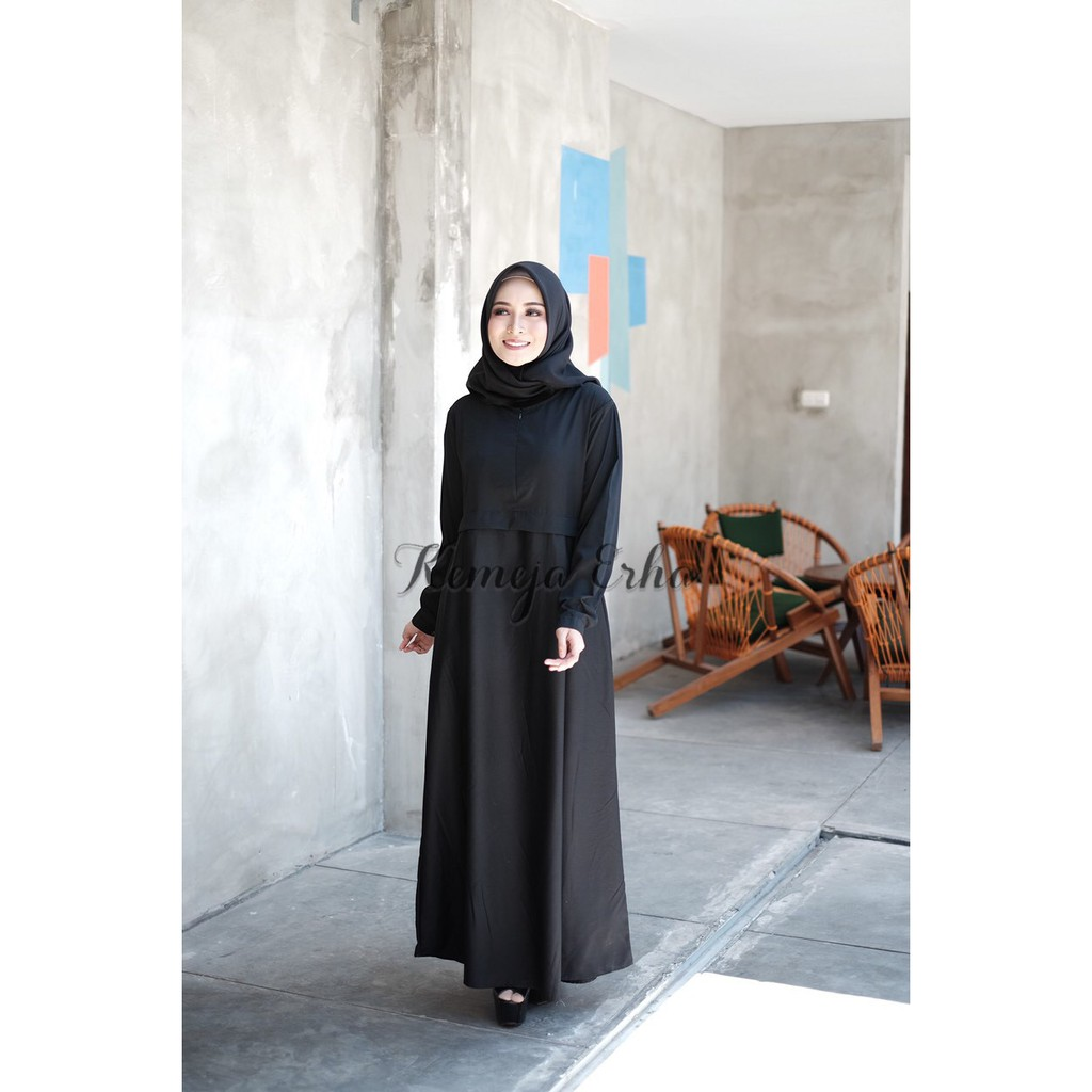 Gamis Katun Toyobo Polos Warna Hitam Dress Muslim Maxi Resleting Depan  Busui Friendly