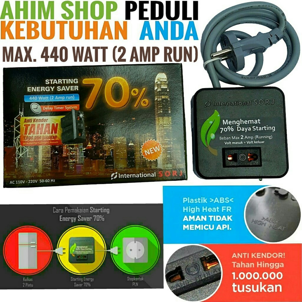 International SORJ Starting Energy Saver 70% Penghemat Listrik Max. 440W SAVE YOUR MONEY Ahim Shop | Shopee Indonesia