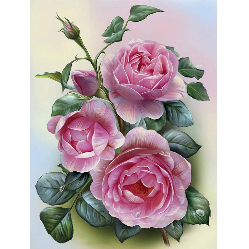 Diy Lukisan Diamond 5d Dengan Gambar Bunga Mawar Warna Pink Untuk Hiasan Dekorasi Rumah Shopee Indonesia