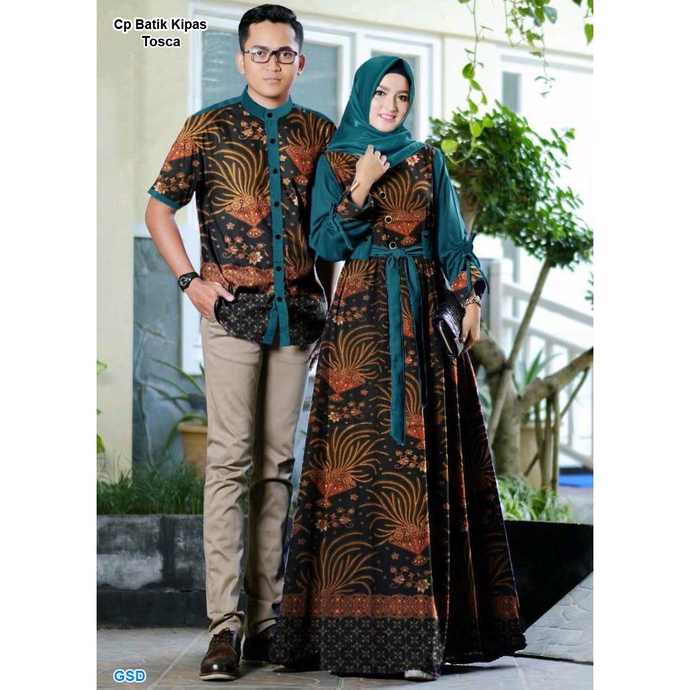 Cp batik kipas/couple batik muslim/gamis batik wanita/kemeja batik  pria/baju batik pasangan murah