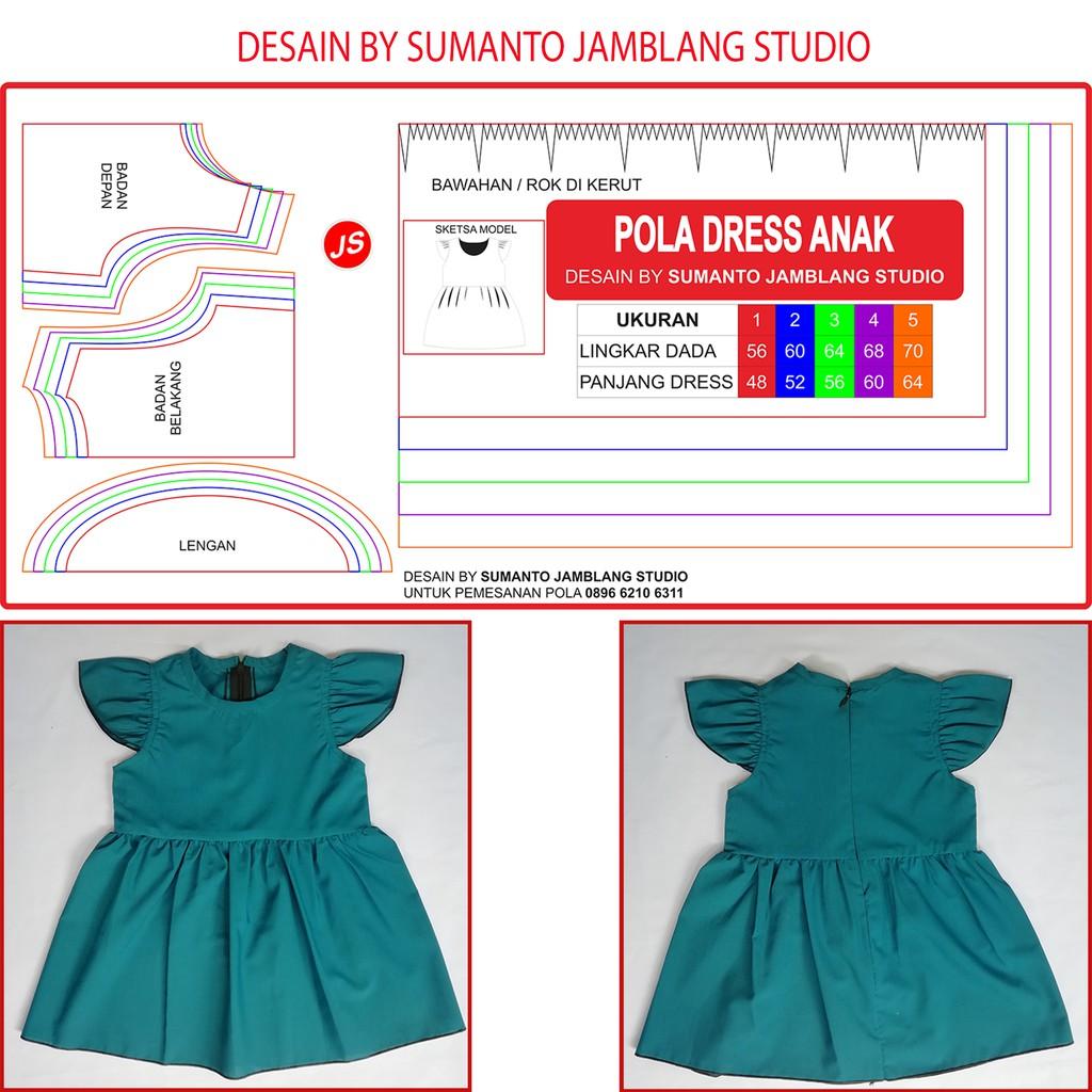 Pola Jiplak Dress Anak 1~5 Tahun  ab575a1ee4