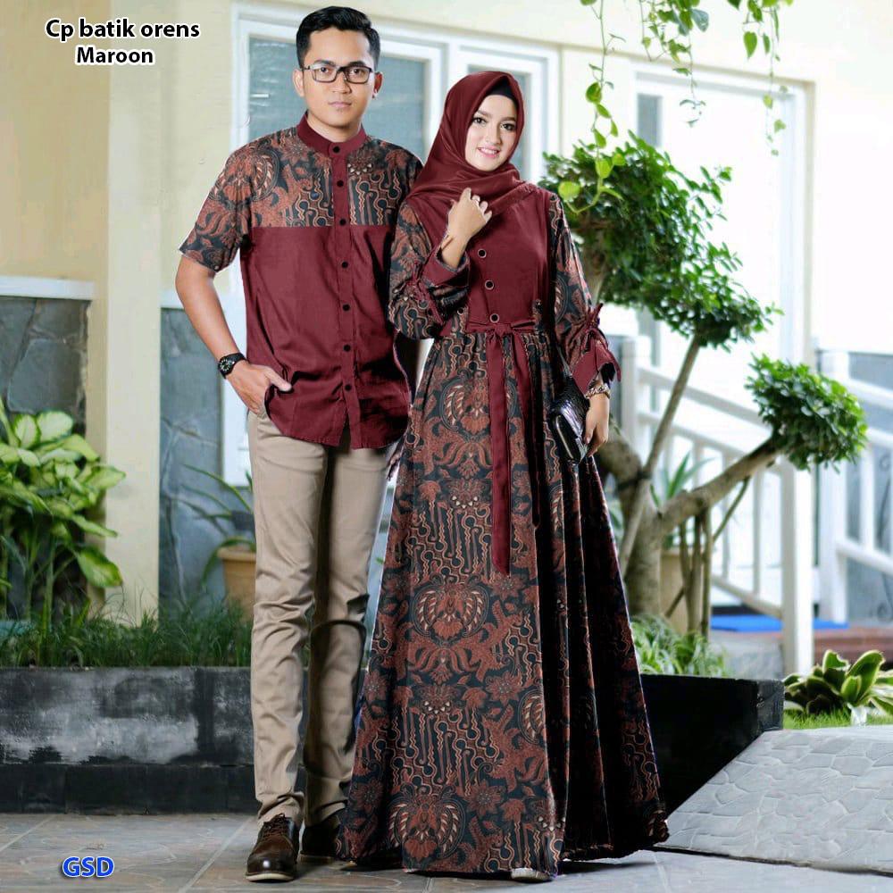 Baju batik couple/Kebaya couple/Gamis batik dan kemeja couple/Cp batik oren
