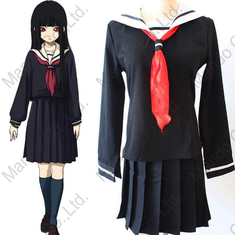 Anime Hell Girl Enma Ai Sexy Cosplay Wanita Baju Sekolah Jepang