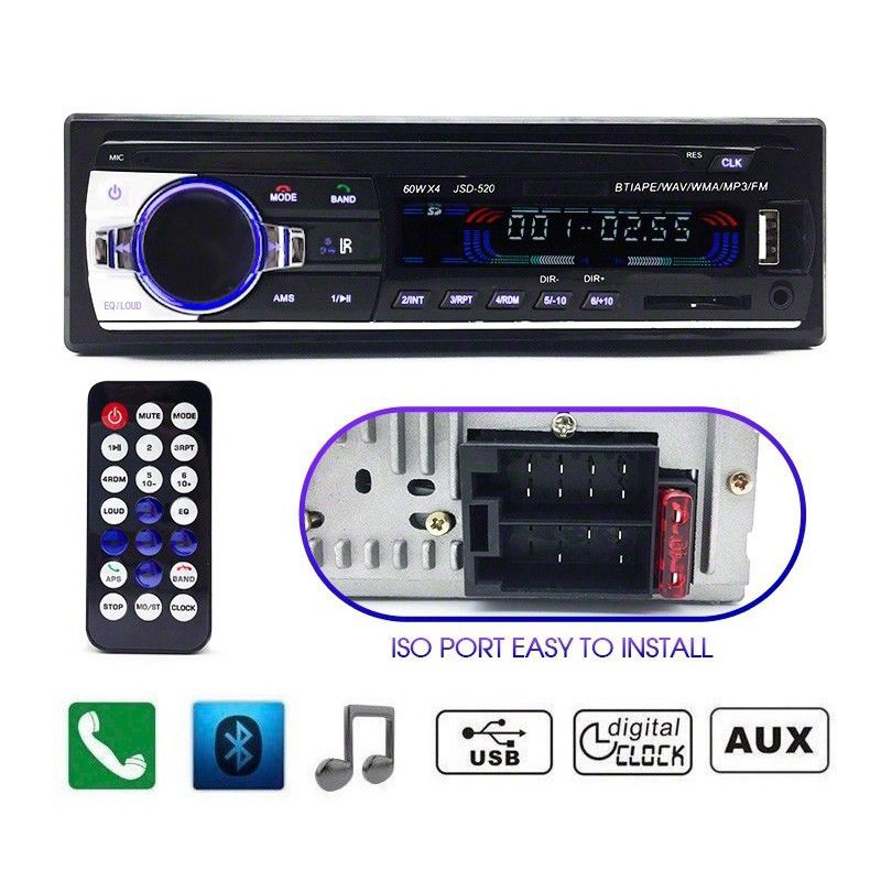 Car Radio Bluetooth Stereo Head Unit MP3/USB/SD/AUX-IN/FM In-dash Player 1DIN | Shopee Indonesia