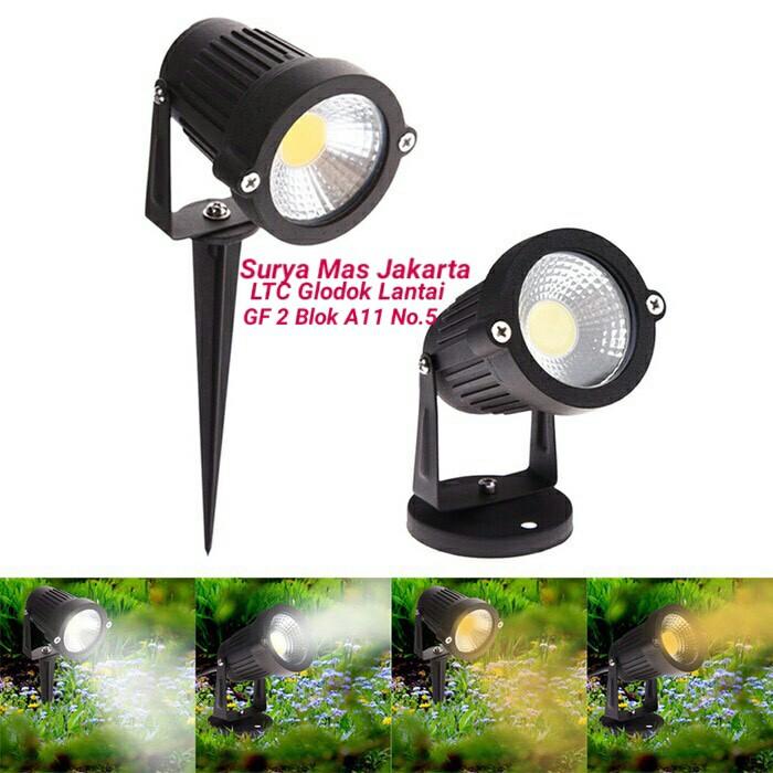 Lampu Taman Led 5w5 Watt Cob Tancap Sorotlukisandekorasi Taman 5 W Shopee Indonesia