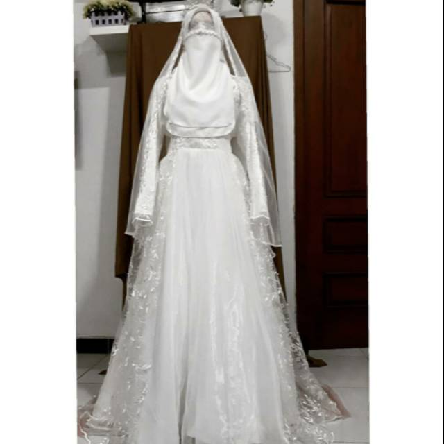 Gaun Pengantin Muslimah Syar I Putih Akad Walimah Wedding Dress Muslimah Shopee Indonesia