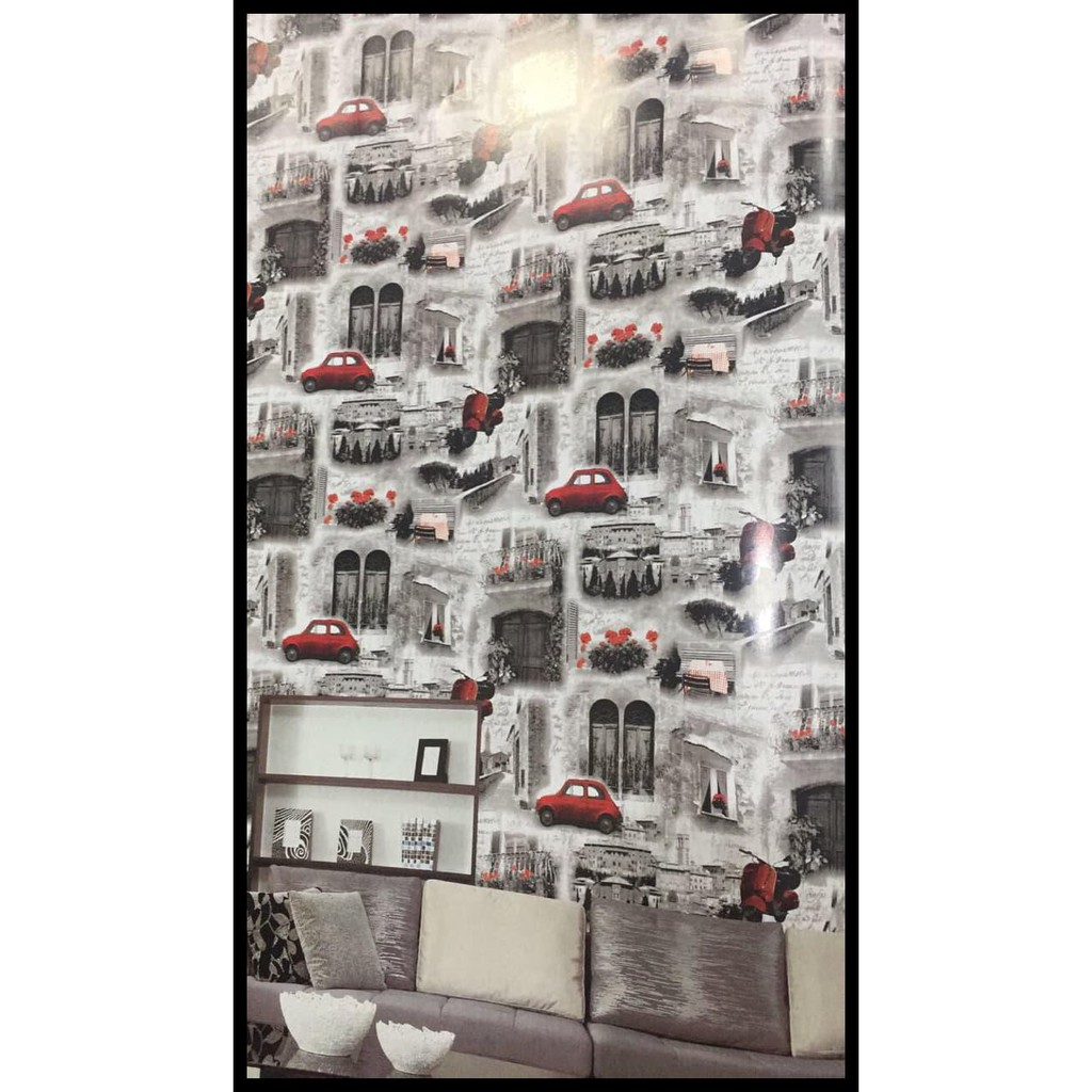 Cuci Gudang Wallpaper Dinding 15 Mtr Motif Mobil Retro Shopee Indonesia