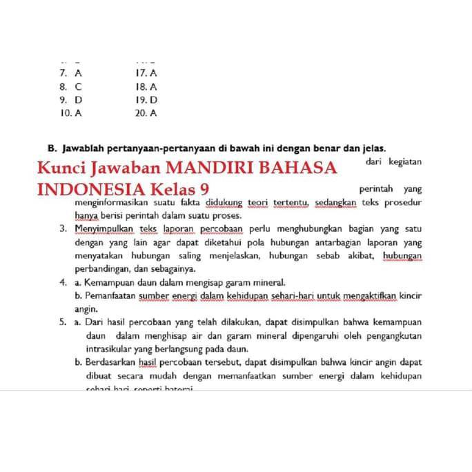 Buku Mandiri Erlangga Bahasa Indonesia Kelas 9 Smp Kunci Jawaban Shopee Indonesia