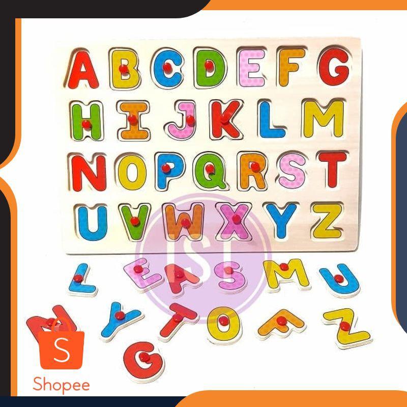 Promo Mainan Anak Puzzle Papan Kayu Huruf Besar Background No.2305-210  Limited | Shopee Indonesia