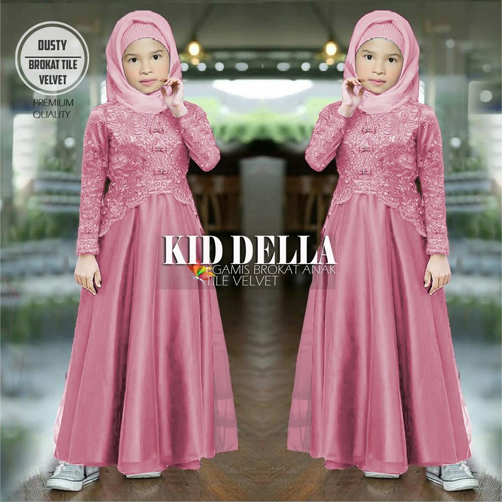 Nbdm Gamis Brokat Mutiara Anak Perempuan Kid Della Maxi Dress Panjang Fashion Muslimah Kaella Shopee Indonesia