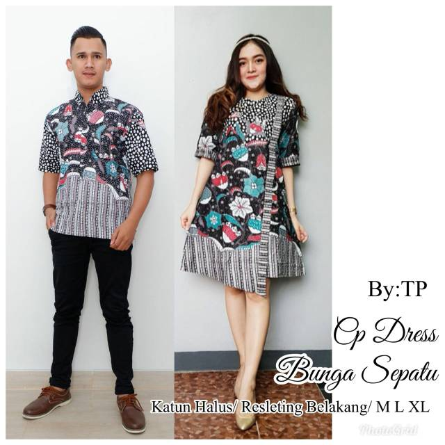 Couple Sarimbit Batik Dress Jeje Bunga Sepatu e09757d342